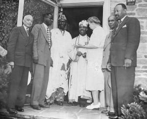 Alain Locke far left with Judge James S-Watson, Nnamdi Azikiwe, K.O. Mbadiwe, Eleanor Roosevelt and Clarence Holt at Howard University, Washingotn D.C. Circa 1960.