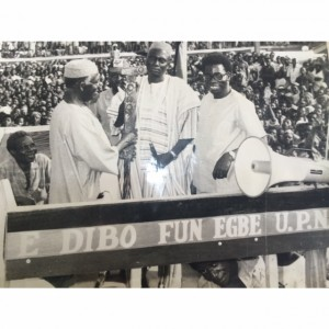 Chief Bola Ige and Chief Obafemi Awolowo campaigning for UPN in Oyo State sometime between 1978 and 1983