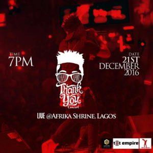 Reekado Banks Thank You Concert: December 21st @ Afrika Shrine