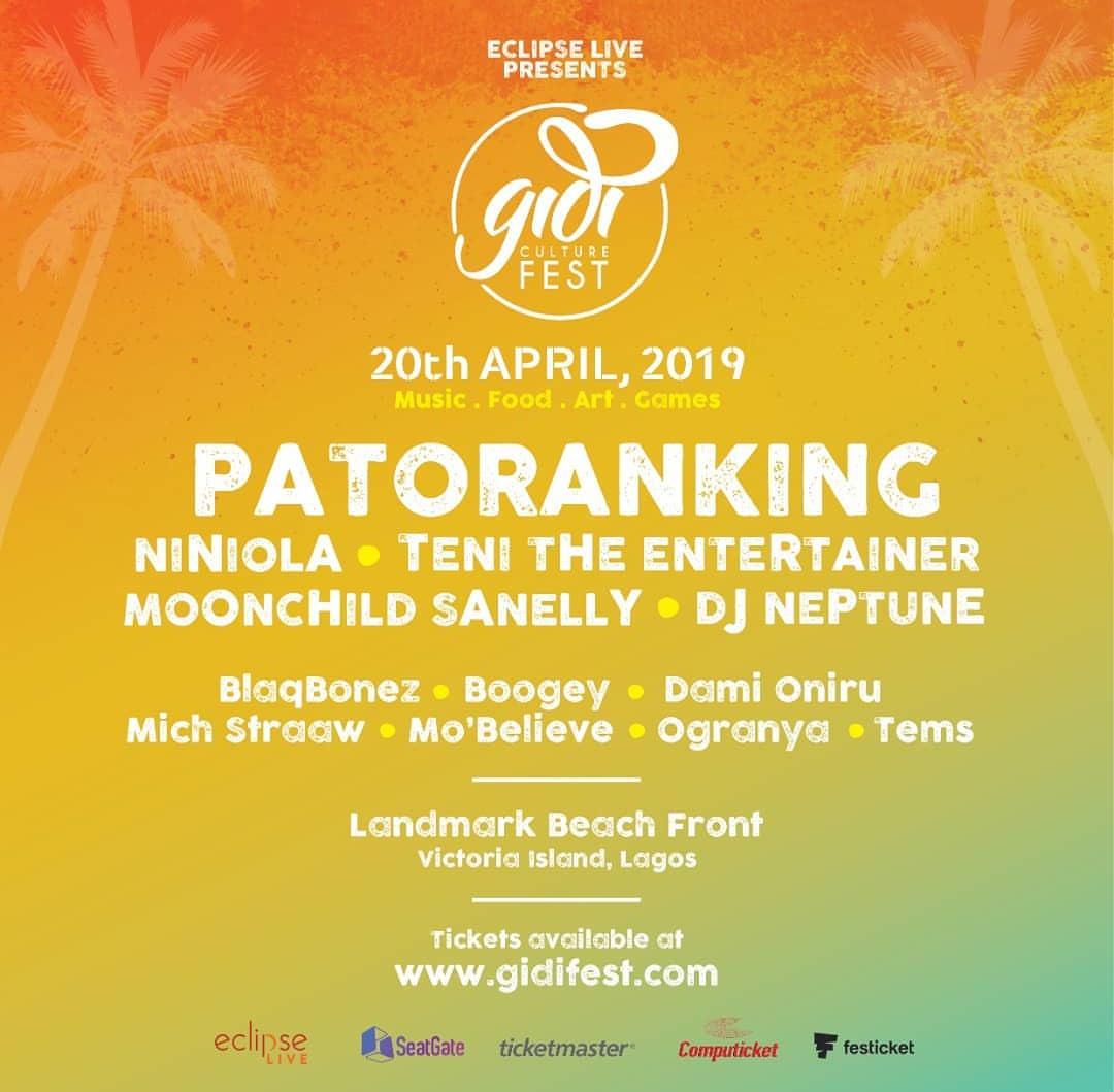 Gidi Fest Enlists Niniola, Patoranking & Teni as It's 2019 Headliners.